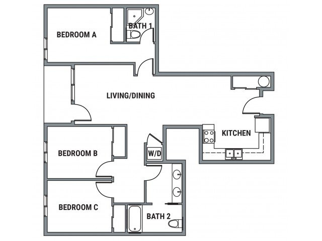 3 Bedrooms 2 Bathrooms Apartment for rent at Element- The Pearl in Eugene, OR