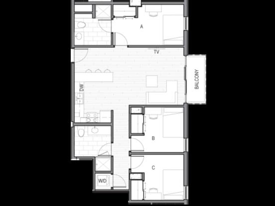 3 Bedrooms 2 Bathrooms Apartment for rent at Luna in Tucson, AZ