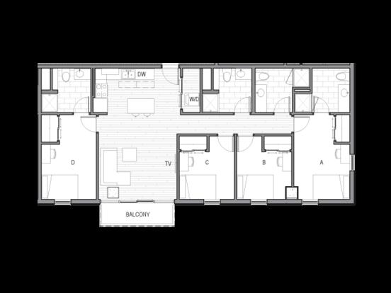 4 Bedrooms 3 Bathrooms Apartment for rent at Luna in Tucson, AZ