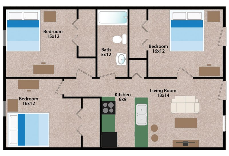 3 Bedrooms 1 Bathroom Apartment for rent at Wiedenbeck Warehouse Apartments in Madison, WI