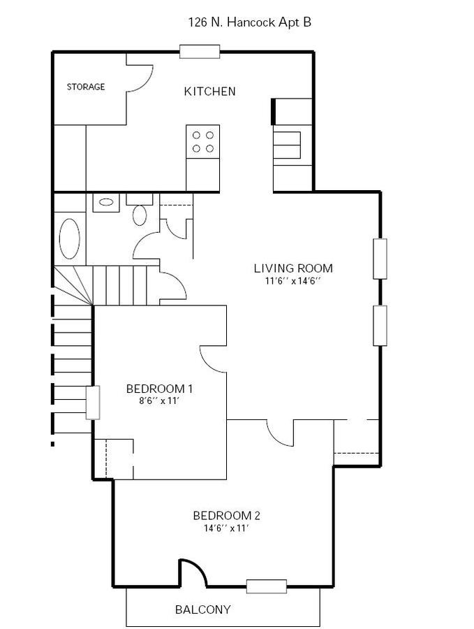 2 Bedrooms 1 Bathroom Apartment for rent at 126 N Hancock in Madison, WI