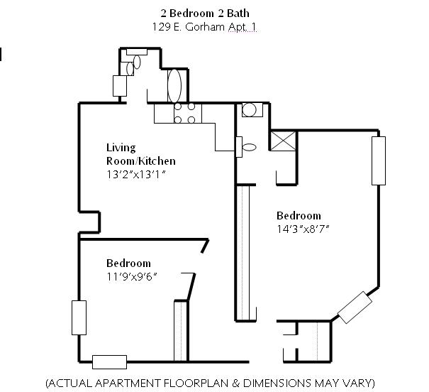 2 Bedrooms 2 Bathrooms Apartment for rent at 129 E Gorham in Madison, WI