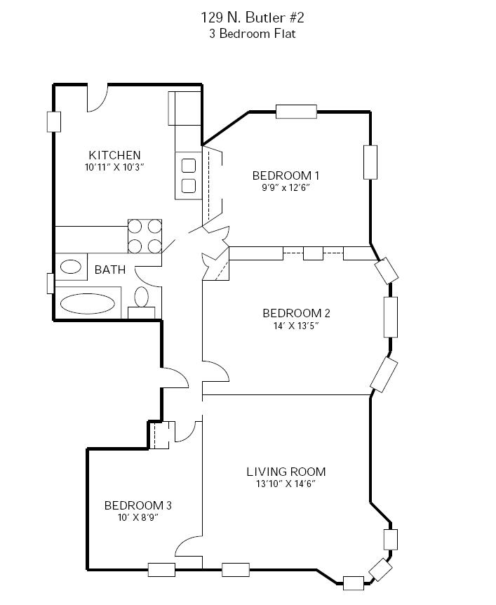 3 Bedrooms 1 Bathroom Apartment for rent at 129 N Butler in Madison, WI