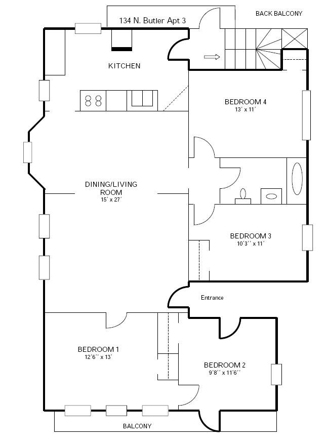 4 Bedrooms 1 Bathroom Apartment for rent at 134 N Butler in Madison, WI