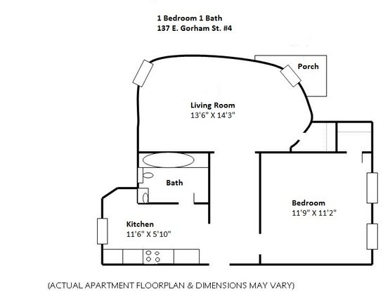 1 Bedroom 1 Bathroom Apartment for rent at 137 E Gorham in Madison, WI