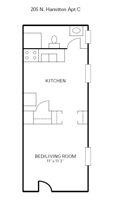 Studio 1 Bathroom Apartment for rent at 205 N Hamilton in Madison, WI