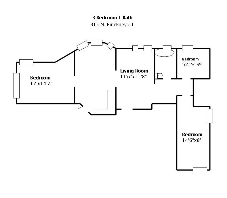 3 Bedrooms 1 Bathroom Apartment for rent at 315 N Pinckney in Madison, WI