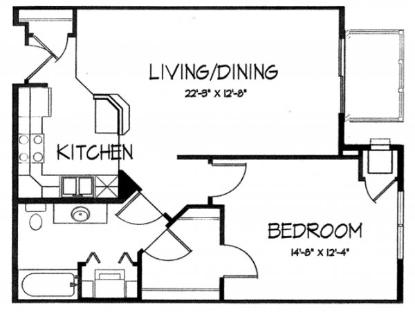1 Bedroom 1 Bathroom Apartment for rent at Mirabel Apartments in Madison, WI