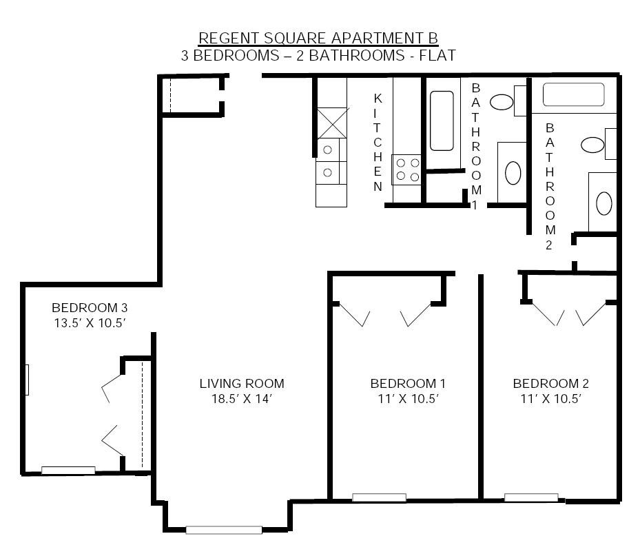 3 Bedrooms 2 Bathrooms Apartment for rent at Regent Square in Madison, WI
