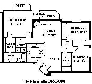 3 Bedrooms 2 Bathrooms Apartment for rent at Timberlake Village Apartments in Madison, WI