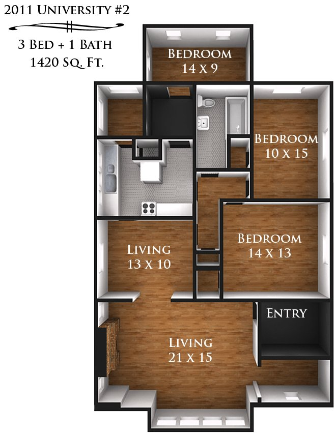 3 Bedrooms 2 Bathrooms Apartment for rent at 2009-2011 University Ave in Madison, WI