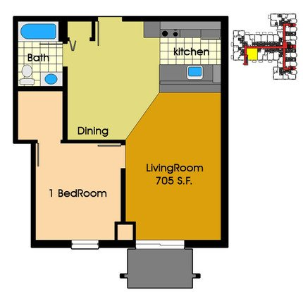 1 Bedroom 1 Bathroom Apartment for rent at Old Market Row Apartments in Madison, WI