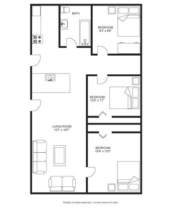 3 Bedrooms 1 Bathroom Apartment for rent at Princeton Kendall Apartments in Madison, WI