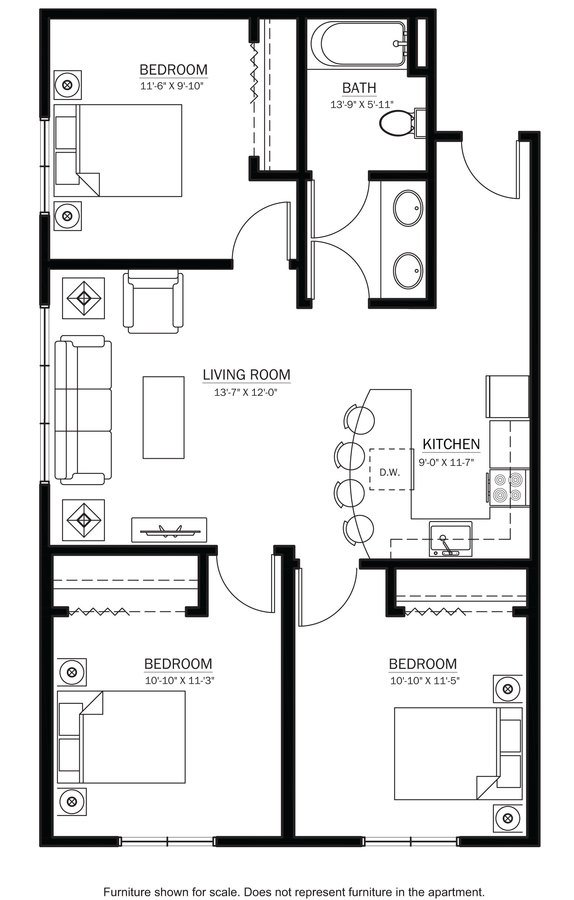 3 Bedrooms 1 Bathroom Apartment for rent at 625 On Langdon in Madison, WI