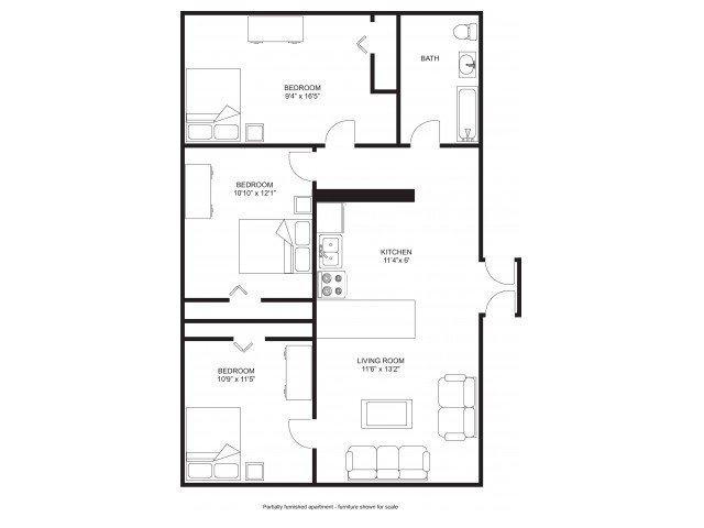 3 Bedrooms 1 Bathroom Apartment for rent at Princeton Kendall in Madison, WI