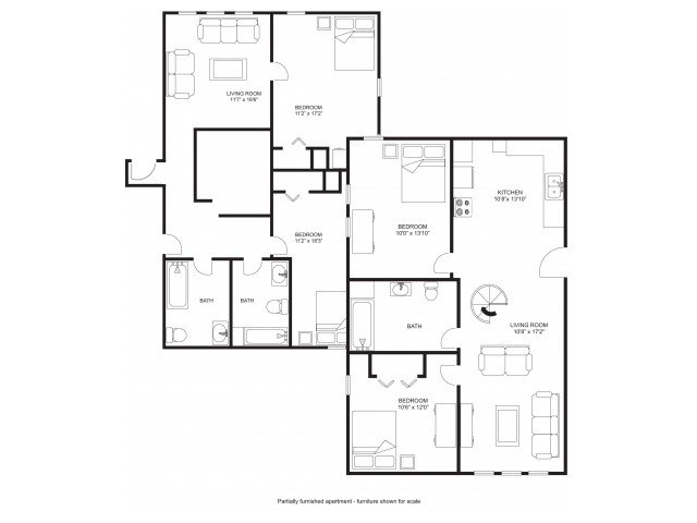 4 Bedrooms 3 Bathrooms Apartment for rent at Princeton Kendall in Madison, WI