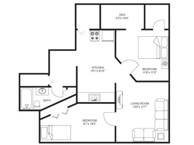 2 Bedrooms 1 Bathroom Apartment for rent at The Windsor in Madison, WI