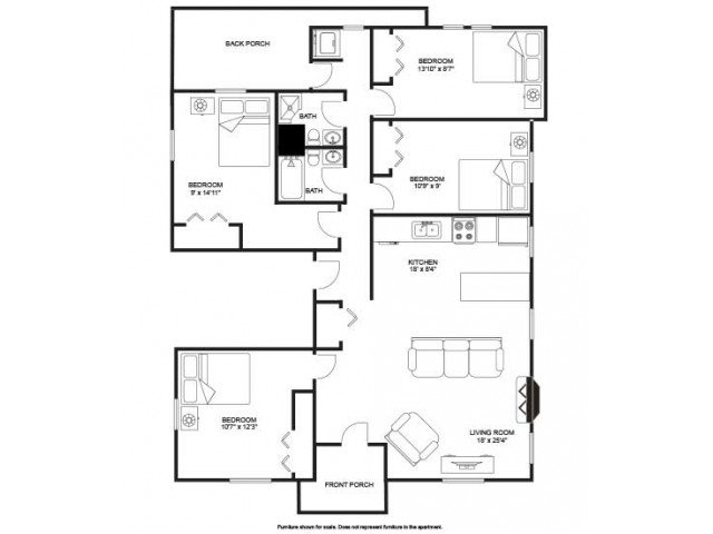 4 Bedrooms 2 Bathrooms Apartment for rent at Seven Eleven in Madison, WI