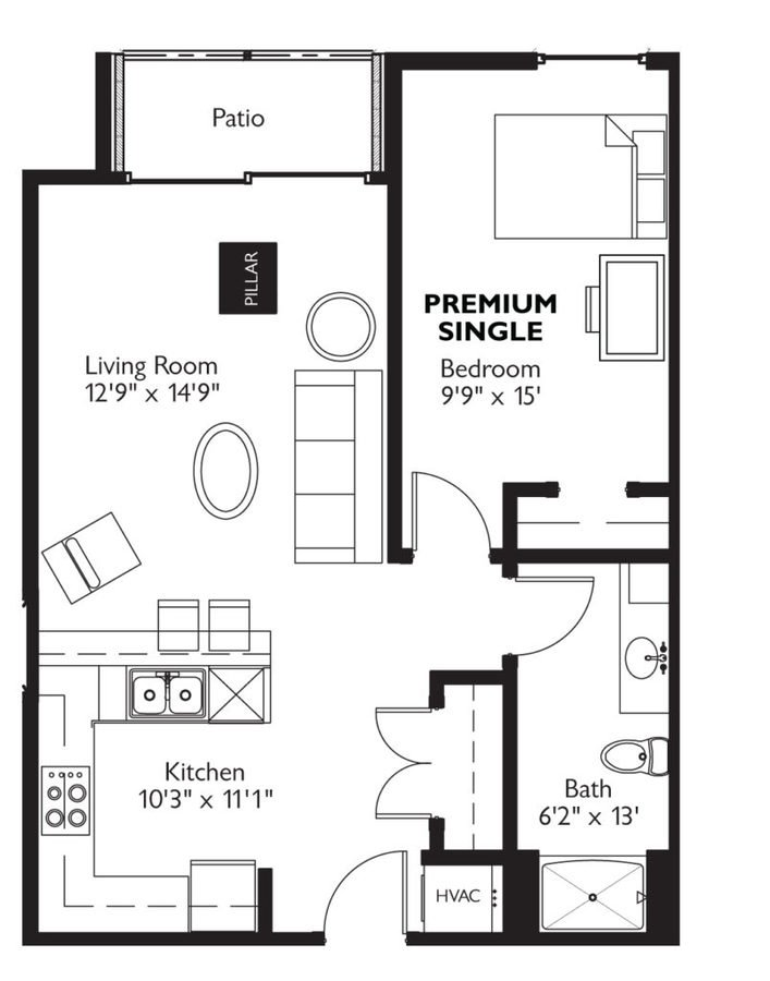 1 Bedroom 1 Bathroom Apartment for rent at Dorm @ Lucky in Madison, WI
