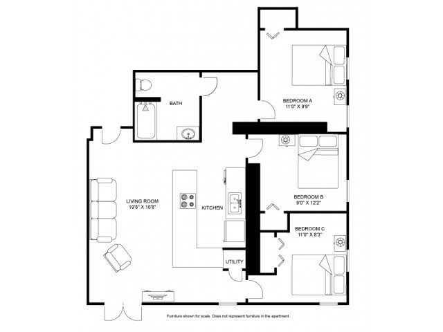 3 Bedrooms 1 Bathroom Apartment for rent at The Abbie in Madison, WI