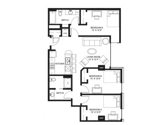 1 Bedroom 1 Bathroom Apartment for rent at Lucky in Madison, WI