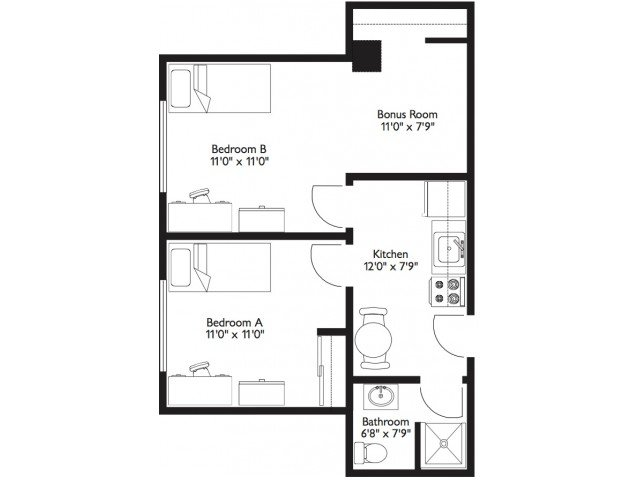2 Bedrooms 1 Bathroom Apartment for rent at Highlander Apartments in Madison, WI