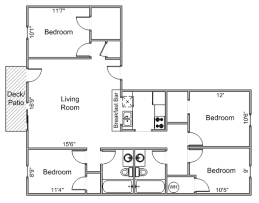 4 Bedrooms 2 Bathrooms Apartment for rent at 912-920 Fahrenbrook Ct. in Madison, WI
