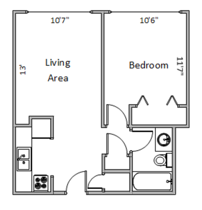 1 Bedroom 1 Bathroom Apartment for rent at 1309-1329 Temkin Ave in Madison, WI