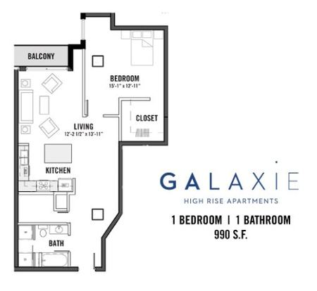 1 Bedroom 1 Bathroom Apartment for rent at Galaxie in Madison, WI