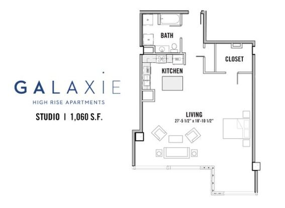 Studio 1 Bathroom Apartment for rent at Galaxie in Madison, WI