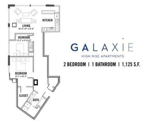 2 Bedrooms 1 Bathroom Apartment for rent at Galaxie in Madison, WI