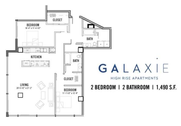 2 Bedrooms 2 Bathrooms Apartment for rent at Galaxie in Madison, WI