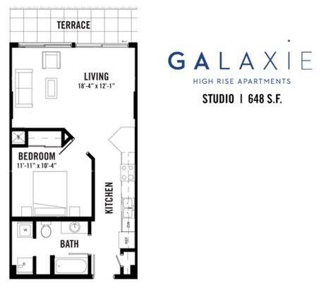 Studio 1 Bathroom Apartment for rent at Galaxie High Rise Apartments in Madison, WI