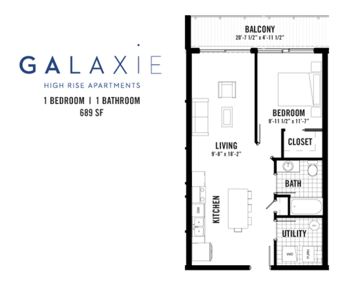 1 Bedroom 1 Bathroom Apartment for rent at Galaxie Townhomes And Lofts in Madison, WI