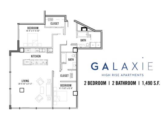 2 Bedrooms 2 Bathrooms Apartment for rent at Galaxie High Rise Apartments in Madison, WI