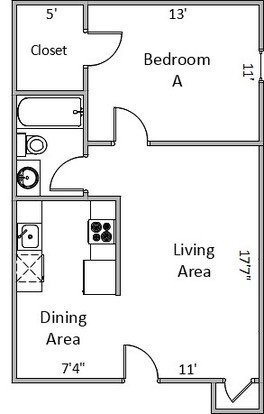 1 Bedroom 1 Bathroom Apartment for rent at Prairie Commons Apartments in Prairie Du Sac, WI