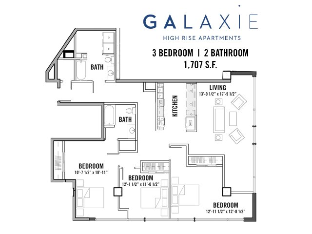 3 Bedrooms 2 Bathrooms Apartment for rent at Galaxie High Rise Apartments in Madison, WI