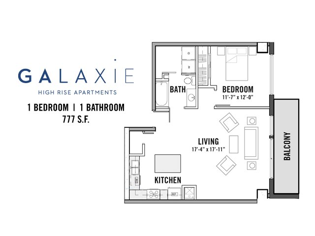 1 Bedroom 1 Bathroom Apartment for rent at Galaxie High Rise Apartments in Madison, WI