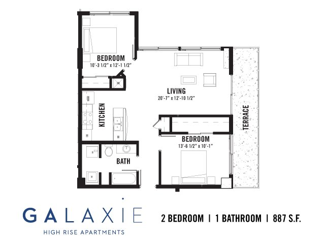 2 Bedrooms 1 Bathroom Apartment for rent at Galaxie High Rise Apartments in Madison, WI