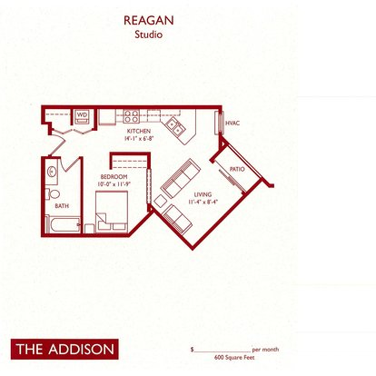 Studio 1 Bathroom Apartment for rent at The Addison in Fitchburg, WI