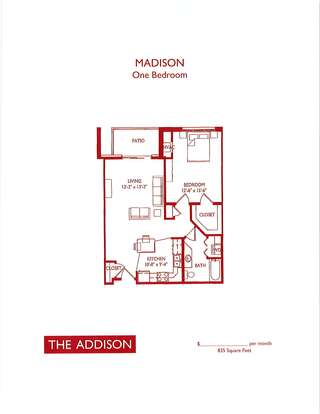 1 Bedroom 1 Bathroom Apartment for rent at The Addison in Fitchburg, WI