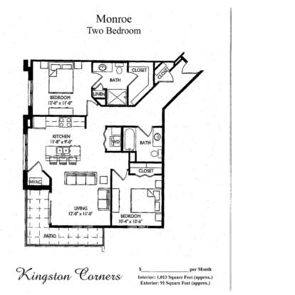 2 Bedrooms 2 Bathrooms Apartment for rent at Kingston Corners in Madison, WI