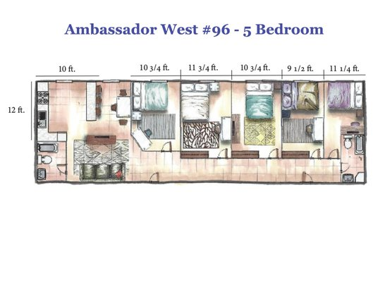 5 Bedrooms 2 Bathrooms Apartment for rent at Ambassador West in Madison, WI