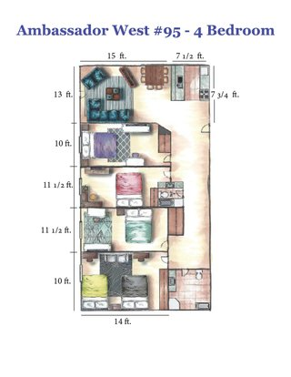4 Bedrooms 2 Bathrooms Apartment for rent at Ambassador West in Madison, WI