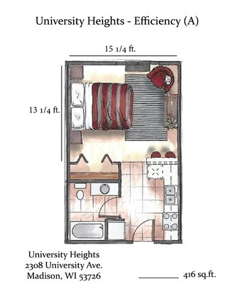 Studio 1 Bathroom Apartment for rent at University Heights in Madison, WI