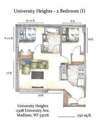 2 Bedrooms 1 Bathroom Apartment for rent at University Heights in Madison, WI
