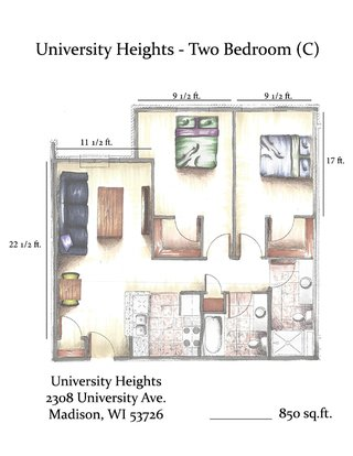 2 Bedrooms 2 Bathrooms Apartment for rent at University Heights in Madison, WI