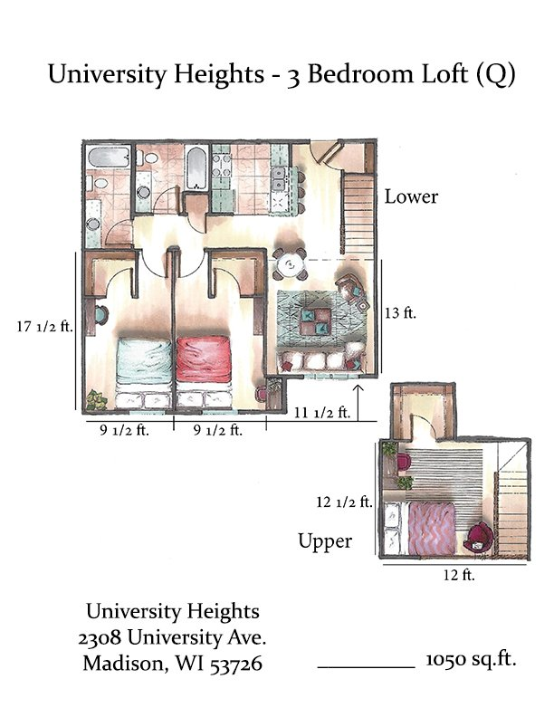 3 Bedrooms 2 Bathrooms Apartment for rent at University Heights in Madison, WI