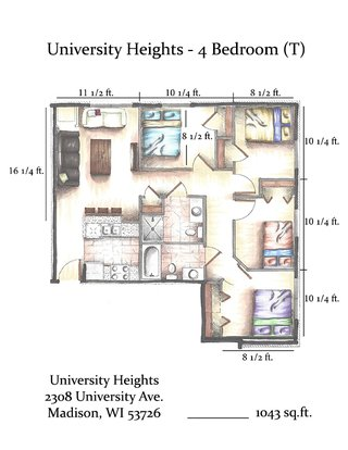 4 Bedrooms 2 Bathrooms Apartment for rent at University Heights in Madison, WI