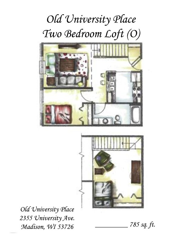 2 Bedrooms 1 Bathroom Apartment for rent at Old University Place in Madison, WI